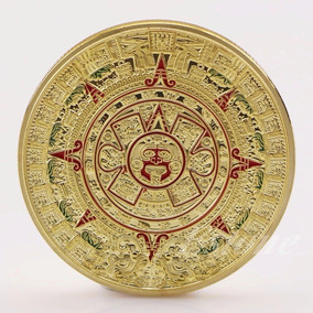 Moeda Calendário Asteca Comemorativa Ouro/vermelho