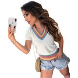 708787b17 Blusa Feminina De Tricot Arco Iris Tendencia Promoção Tv