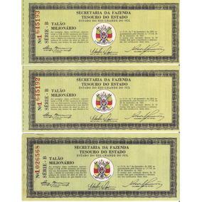 3 Bilhetes Loteria Antigo Talão Milionário Rio Grande Do Sul