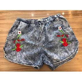 Short Jeans Feminino Bordado Flores Com Elástico No Cintura