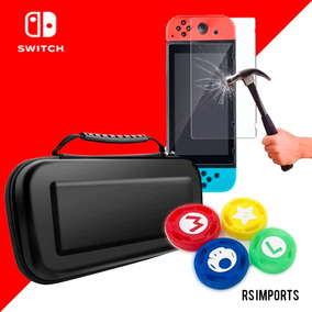 Case Capa Estojo Nintendo Switch + Película Vidro + 4 Grip