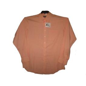 Camisa Salmon/blanco Casual/vestir Talla Xl Kirklan