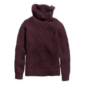 Sweater Knitwear, Color Vino, Cuello Alto, Talla S / Chica