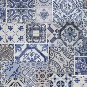Papel Tapiz Moderno Talavera Mosaico Texturizado Lavable 5m2
