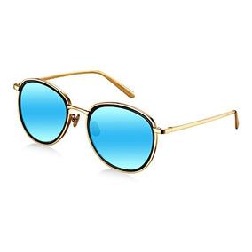 fb80664a9e Wenlenie Women X26 39 S W518 Gold Frame Mirror Blue Lens T