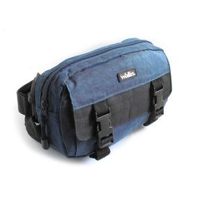 Cangurera 3 Compartimientos, Con Broches, 100% Nylon, Azul M