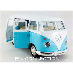 Miniatura Volkswagen Kombi 1962 Azul/branco Em Metal 13cm