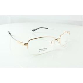 Armação Oculos De Grau Titanium Dourada Rosê Meio Aro - A770 79894465a9