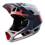 Capacete Fox Proframe Drafter - Cinza/azul/vermelho Fosco