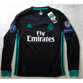 97a79b4e0109a Camiseta Real Madrid Negra Con Parches De La Champions - Camisetas ...