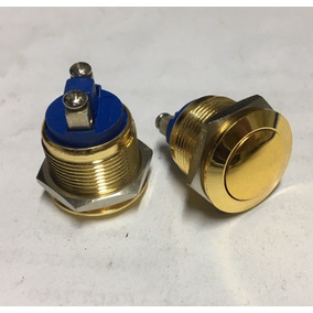 Switch Pulsador Boton 2pin Redondo Dorado 19mm Sw-smgq19bg