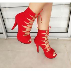 Zapatos Mujer Tacon Elegantes · Zapatilla De Tacon Alta Dama Colo Rojo Moda  Elegancia 382b432436a8