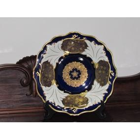 Prato/medalhão Weimar Germany Azul Cobalto E Ouro 24 Karat
