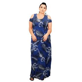 Roupa Feminina Vestido Longo Fechado Plus Size Viscolycra
