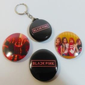 Kit Black Pink - 3 Bottons E Chaveiro Dupla Face K-pop
