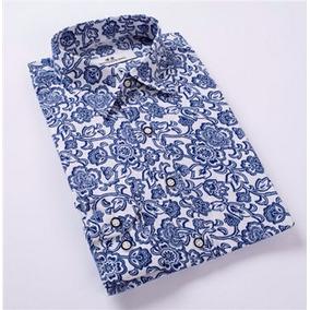 Camisa Social Algodão Alta Qualidade Estampada Novidade