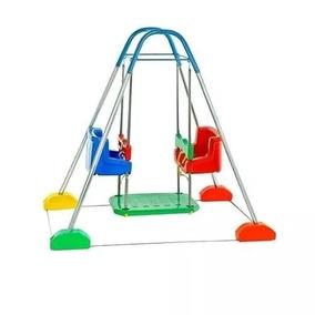 Balanço Bebê Duplo Com Estrutura Azul Jundplay Escola