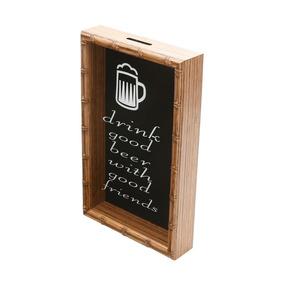 Quadro Porta Rolha De Vinho Bambu Drink Good Beer With Good