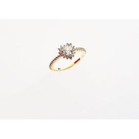 Anel Solitario Coração Zirconia Cristal Banhado Ouro18k Nº16 ce27cc2e88