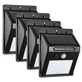 4 Luminária Solar Parede 20 Led Sensor Movimento Externa
