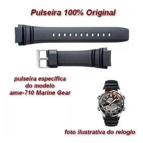 Pulseira Casio Marine Gear Preta - Amw-710 - 100% Original