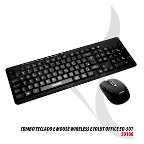 Teclado E Mouse Wireless Sem Fio Evolut 2.4ghz