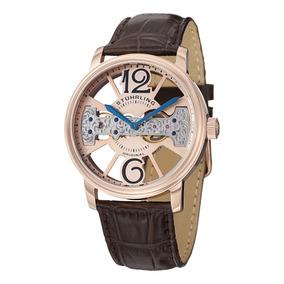 Reloj Stuhrling Mecanico 46mm Skeleton Oro Rosa/ Cafe 785.03