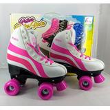Patins 4 Rodas Clássico Branco/rosa 34/35 Ajustável Roller B