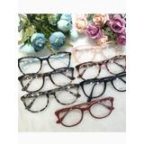 52392f02c2614 Óculos Armação De Grau Gatinho Redondo Acetato Frete +brinde