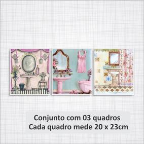 Quadro Decorativo Lavabo Banheiro Quarto Lavatorio Rosa