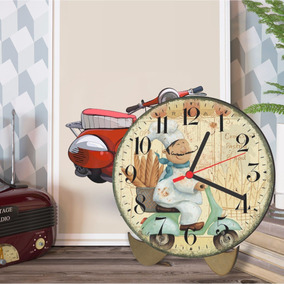 Relógio De Mesa Cheff De Cozinha Lambreta 25cm