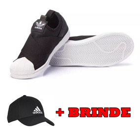 16e8f8dea90 Tenis adidas Superstar Slip On Feminino Barato + Boné Brinde