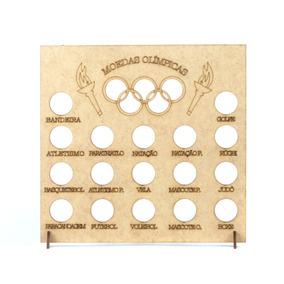 Quadro Coleção Moedas Olimpíadas - 23,5x4x24,5 - Mdf Madeira
