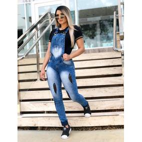 Macacão Jeans Feminino Jardineira Jeans Com Lycra Calça Jean