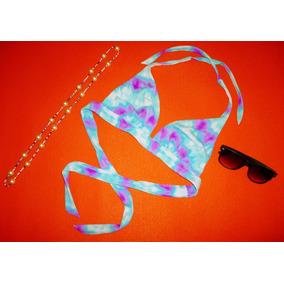 Ropa De Playa Top Azul Con Rosa Talla Mediana