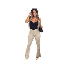 Calça Jeans Flare Roupas Feminina Lycra Pinça Levanta Bumbum