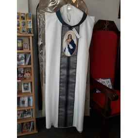 Casulla Blanca Con Azul Marino Para Sacerdote