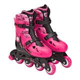 Patins Infantil Ajustável N°33 A 36 Com Kit Proteção Barbie