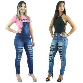 Kit De Macacão Feminino Jeans + Calça Feminina Jeans Rasgada