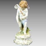 Antigua Figura Grande Porcelana Alemana Meissen Ángel