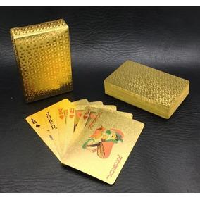 Baralho Dourado Luxo Folhas De Ouro Poquer Aproveite