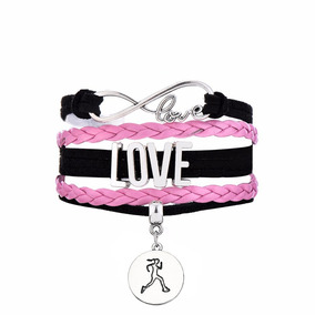 Pulsera Love Running - Run Like A Girl Negra Y Rosa