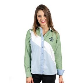 Camisa Color Verde, Diagonal Azul Y Blanco