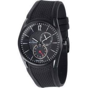 Relógio Skagen 901xlmln Black Label Black Leather Band, - Relógios ... 4d437ae39f