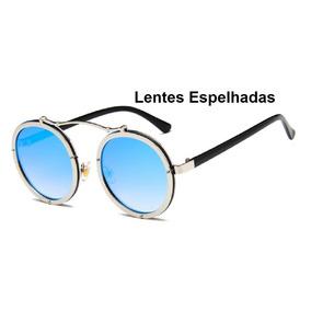 2eef652a69d2a Oculos Feminino Redondo Espelhado Azul - Óculos no Mercado Livre Brasil