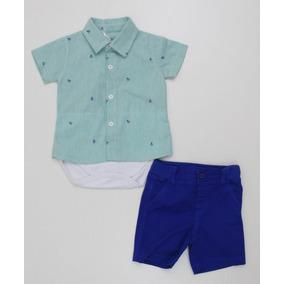 Conjunto Noruega Baby Body Camisa Estampa Ancora Com Bermuda 36a3a548712