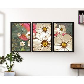 910ee86f8 Quadro Decorativo Moldura Vidro Sala Jogo Mundo Flores