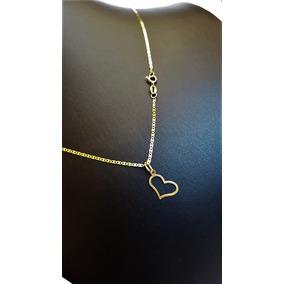 Correntinha De Ouro18k Piastrine 40cm Ping Coração Vazado