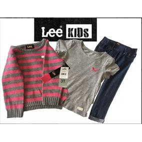 Conjunto Niña 3 Piezas Marca Lee Suéter+blusa+pantalón