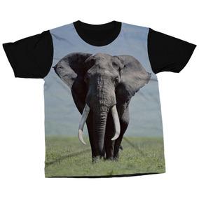 9db8aa2683dc9 Camiseta Elefante Animal Mamífero Blusa Camisa Estampada